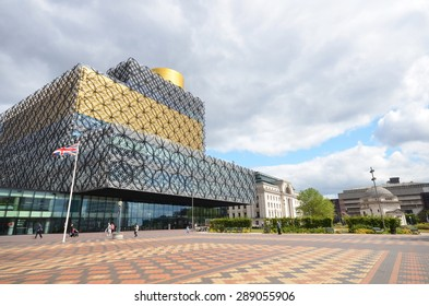 Birmingham, UK - June 9: view of the central library and Centenary Square in Birmingham, UK on June 9, 2015. The library is a significant new landmark in the city.