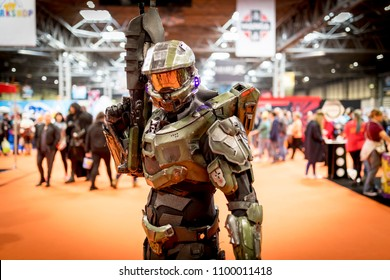 Birmingham, UK - March 17, 2018. A cosplayer dressed as an Halo Master Chief the Activision video game series at a comic con in Birmingham, UK