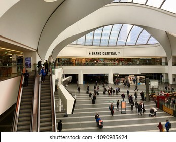 Birmingham, UK: May 02, 2018: Newly renovated Grand Central shopping centre and New Street Railway Station in central Birmingham opened in September 2015.