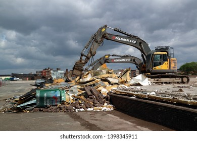 Birmingham, UK - May 2019: Birmingham Wholesale Market is demolished to make way for a high speed rail network.