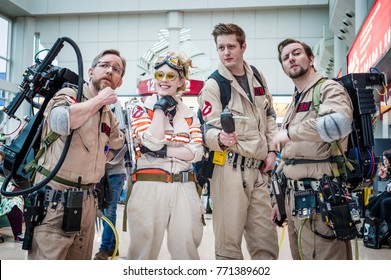 Birmingham, UK - November 18, 2017: Cosplayers dressed as characters from the film Ghostbusters  at Birmingham MCM Comic Con.