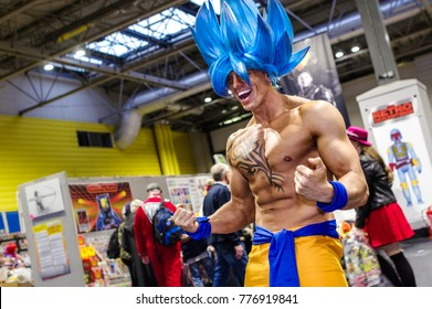 Birmingham, UK - November 18, 2017: Cosplayer dressed as Goku in his Supersaiyen Blue form from Dragon Ball at Birmingham MCM Comic Con.