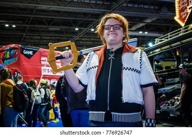 Birmingham, UK - November 18, 2017: Cosplayers dressed as Roxas from the video game 'Kingdom Hearts' at Birmingham MCM Comic Con.
