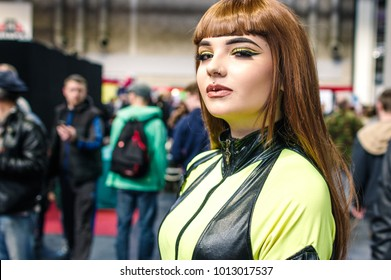 Birmingham, UK - November 19, 2017: Cosplayer dressed as Silk Spectre II from the graphic novel and movie Watchmen  at Birmingham MCM Comic Con.