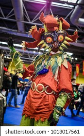 Birmingham, UK - November 19, 2017: Cosplayer dressed as Majora from the video game 'The Legend of Zelda: Majora's Mask' at Birmingham MCM Comic Con.