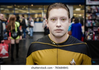 Birmingham, UK - November 19, 2017: Cosplayer dressed as Commander Data from Star Trek the Next Generation at Birmingham MCM Comic Con.