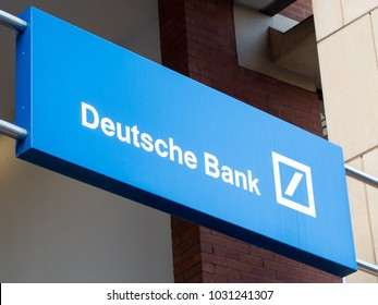 Birmingham, UK - November 2017: Signage above the entrance to Deutsche Bank offices in Birmingham, UK.
