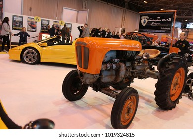 BIRMINGHAM, UK - October 10, 2012 : First Lamborghini tractor car on display at the Top Gear car show exhibition.
