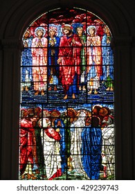 Birmingham, UK, September 2 2010 - Ancient stained glass window at St Phillip's Cathedral, showing a painting of Jesus Christ and his Disciples