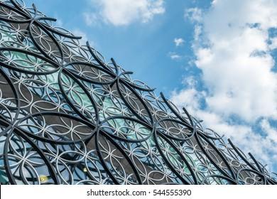 BIRMINGHAM, UK - SEPTEMBER 2016: Exterior detail of the iconic Library of Birmingham, Birmingham, England.