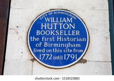 Birmingham, UK - September 20th 2019: A blue plaque marking the location where historian and poet William Hutton once lived in the city of Birmingham, UK.