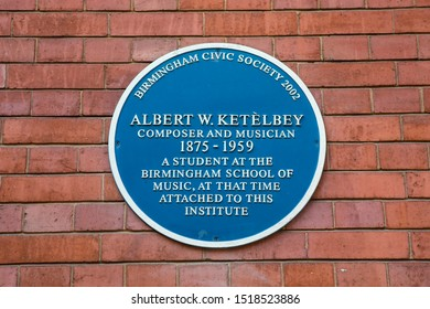 Birmingham, UK - September 20th 2019: A blue plaque marking the location where composer and musician Albert W. Ketelbey studied music in the city of Birmingham, UK.