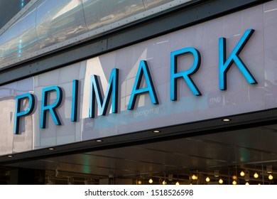 Birmingham, UK - September 20th 2019: The Primark logo above the entrance to its store in the city of Birmingham, UK. It is the biggest Primark store in the world.