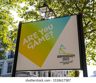 Birmingham, UK - September 20th 2019: A sign advertising the Birmingham 2022 Commonwealth Games in the city of Birmingham in the UK.
