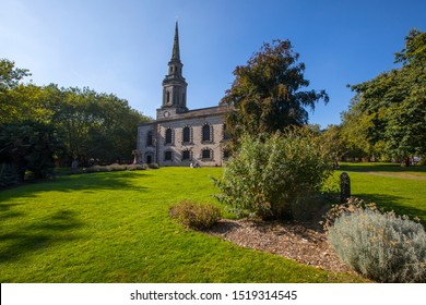 Birmingham, UK - September 20th 2019: A view of St. Pauls Church, located in the Jewellery Quarter in Birmingham, UK.