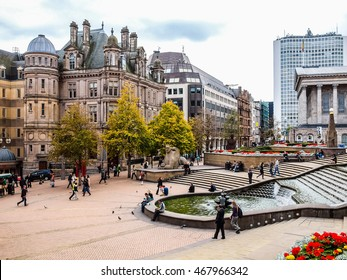 BIRMINGHAM, UK - SEPTEMBER 23, 2011: Tourists visiting the high street in the city centre (HDR)