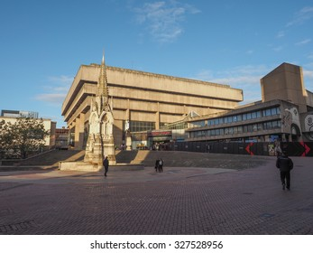 BIRMINGHAM, UK - SEPTEMBER 25, 2015: Birmingham Central Library iconic masterpiece of New Brutalism designed by John Madin in 1974 is now threated of demolition