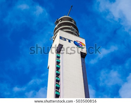 BIRMINGHAM, UK - SEPTEMBER 25, 2015: BT Tower is the telecommunications tower of British Telecom and the tallest building in Birmingham (HDR)
