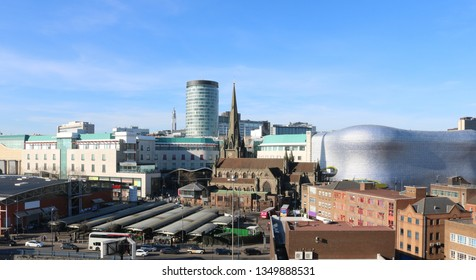 Birmingham UK Skyline. Rag Market, St Martins Church, Rotunder and The Bullring. Commercial Image.