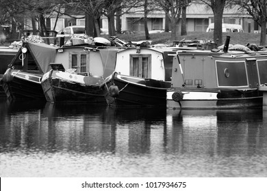 Birmingham UK water canal network - colorful living barges, typical houseboats. West Midlands, England.