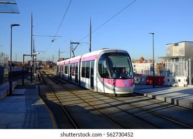 Birmingham, United Kingdom, 5 January 2017: Midland Metro tram at Snow Hill, Birmingham