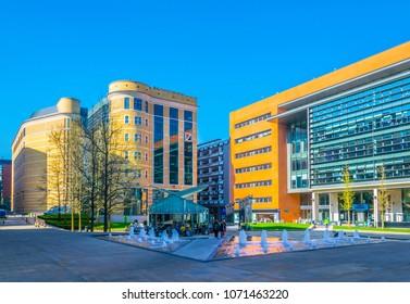 BIRMINGHAM, UNITED KINGDOM, APRIL 9, 2017: View of the central square in Birmingham, England