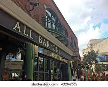 Birmingham, United Kingdom - August 5, 2017: All Bar One - Brindley Place, tourists and locals enjoying a summer evening