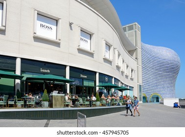 BIRMINGHAM, UNITED KINGDOM - JUNE 6, 2016 - View of a pavement cafe with the Selfridges building in the Bullring to the rear, Birmingham, England, UK, Western Europe, June 6, 2016.