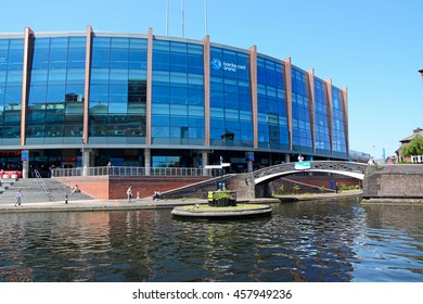 BIRMINGHAM, UNITED KINGDOM - JUNE 6, 2016 - View of the National Indoor Arena aka the Barclaycard Arena at Old Turn Junction, Birmingham, England, UK, Western Europe, June 6, 2016.