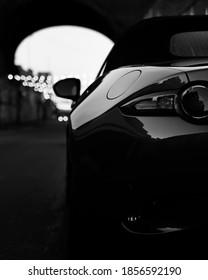 Birmingham, United Kingdom - May 24 2020: Mazda MX-5 Sports Car rear view black and white