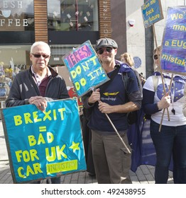Birmingham, United Kingdom - October 2, 2016: Pro European Union Rally in Birmingham. A crowd of people gathered in Birmingham to march to the Tory conference to protest against the idea of Brexit.