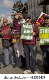 Birmingham, United Kingdom - October 2, 2016: Protest for Kashmir. A small group of people came out on the streets to protest the treatment of the people of Kashmir by the Indian government.