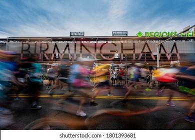 Birmingham, United States: February 16, 2019: The Start of the Mercedes-Benz Marathon in Birmingham