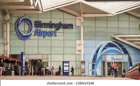 BIRMINGHAM, WEST MIDLANDS, ENGLAND - SEPTEMBER 2018: Large sign on the exterior of the terminal building at Birmingham airport in the West Midlands, England.