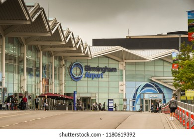 BIRMINGHAM, WEST MIDLANDS, ENGLAND - SEPTEMBER 2018: Wide angle view of the terminal building at Birmingham airport in the West Midlands, England.