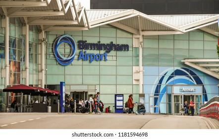 BIRMINGHAM, WEST MIDLANDS, ENGLAND - SEPTEMBER 2018: Exterior of the terminal building at Birmingham airport in the West Midlands, England.