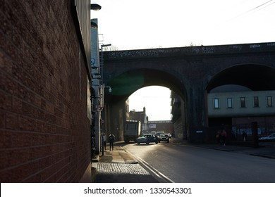 """Birmingham, West Midlands, UK - 01.23.2019: Railway Bridges for the trains connecting Birmingham to London in Digbeth. A new line called HS2."