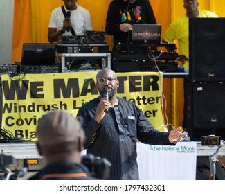 Birmingham, West Midlands / UK - Aug 9 2020: Guest speaker Bishop Jonathan Jackson addresses the rally at the We Matter pre-launch event, a public event held in Centenary Square