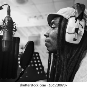 Birmingham, West Midlands U.K - November 1 2020: Former Walsall Poet Laureate, Peace records audio for the 'Walsall For All' short film at the recording studio.