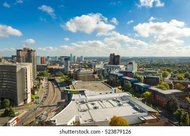 BIRMINGHAM, WEST MIDLANDS, UK - NOVEMBER 25, 2016: Aerial view of Birmingham city center. Birmingham is the Britain's second city.