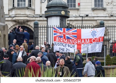 Birmingham,UK: March 24th 2018:The Democratic Football lads alliance and   FLA,Make Britain great again party march through the city centre calling for end to terrorism and extremism.And Justice4the21