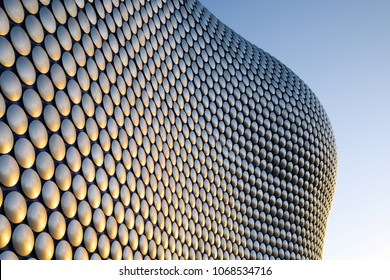 Birmingham,UK:January 16th 2016.Sunrise in the city centre of Birmingham England morning light reflecting of the discs shapes of the Selfridges building near the bullring shopping mall.