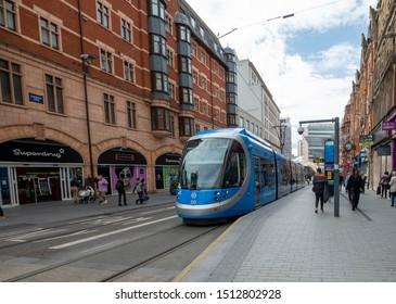 Birmingham,West Midlands/England - 23rd Sept 2019:The trams that run along Corporation st in Birmingham England.