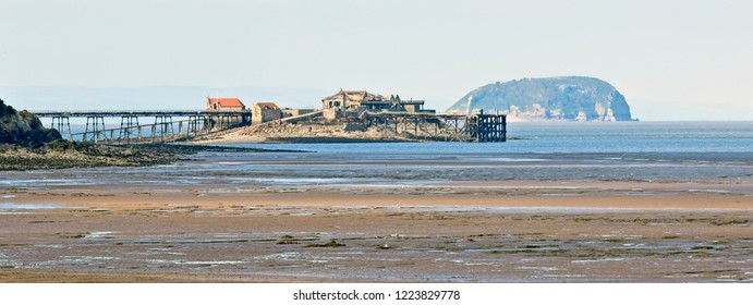 Birnbeck Pier, the ruins of an 18th century pier, Weston-super-Mare, Somerset, England, UK.