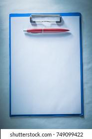 Biro pen blank paper sheet clipboard.