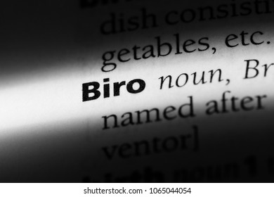 biro word in a dictionary. biro concept.