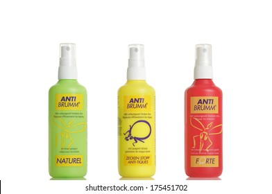 Birr,Switzerland - August 20, 2012. Studio shot on white background of three Anti-Brumm insect repellants: Forte, Naturel and Anti-tiques.