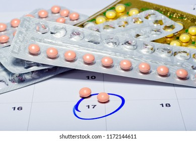birth control pill on calendar, contraceptive, safe sex