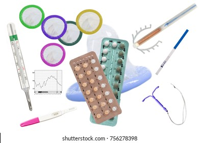 Birth Control symbol- IUD and contraceptive Pills and Condomon white