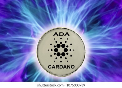 birth or fork of cardano cryptocurrency. coin ada background real cold plasma